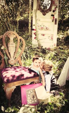 Alice in Wonderland themed photoshoot in my backyard - staged by vintage vexation and MV furniture redesign