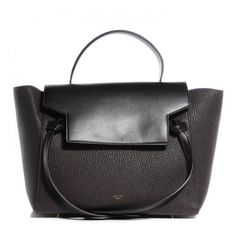 CELINE Goatskin Smooth Calfskin Mini Belt Bag Dark Taupe NEW ❤ liked on Polyvore featuring bags, handbags, structured handbag, structured purse, travel purse, structured tote bag and tote handbags