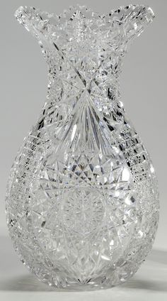 Brilliant Period Cut Glass Bowling Pin Vase, in. Crystal Glassware, Crystal Vase, Waterford Crystal, Patio Chico, Broken Glass Art, Glass Photography, Fenton Glass, Vintage Glassware, Antique Glass