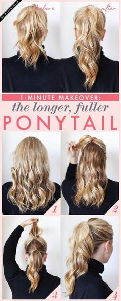 Want your hair to look fuller and longer when making a pony tail ?? No worries here's a perfect and EASY DIY for you ^_^ Source : Weheartit