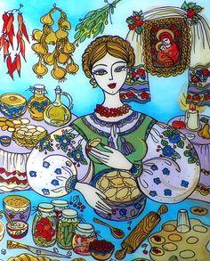 Glass Painting Making Dinner Varenyky Folk Art by eledia1 on Etsy, $86.00