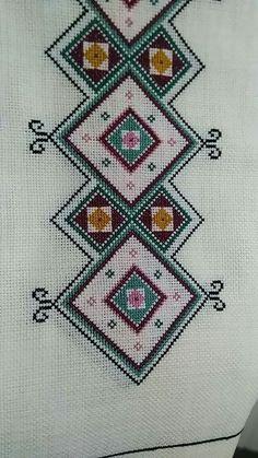 Yeşik Cross Stitch Borders, Cross Stitch Patterns, Cross Stitch Embroidery, Hand Embroidery, Sewing Patterns, Crochet Patterns, Beaded Jewelry Patterns, Bargello, Sewing Hacks
