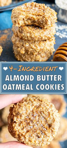 These quick, healthy, and easy almond butter oatmeal cookies are made with only 4 ingredients. This flourless oatmeal cookie recipe is kid-approved and healthy enough to eat for breakfast or an afternoon snack! Almond Butter Cookie Recipe, Almond Butter Snacks, Almond Cookies, Butter Recipe, Peanut Butter, Vegan Oat Cookies, Almond Recipes, Flourless Oatmeal Cookies, Oatmeal Cookie Recipes