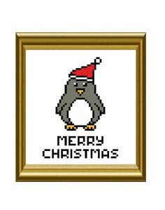 Christmas Penguin Cross Stitch Holiday Pattern by RatherUnseamly, £2.00