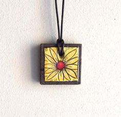 Lava stone jewelry, ceramic jewelry, Daisy, flower, leather necklace adjustable, yellow red black.