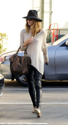 asymmetrical sweater ::: leather pants ::: flats ::: Rosie Huntington-Whiteley