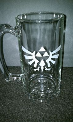 Triforce Etched 26oz Glass Mug by GeekyExpressions on Etsy
