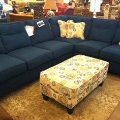 Navy blue couch from la-z-boy. Love minus the pillows.