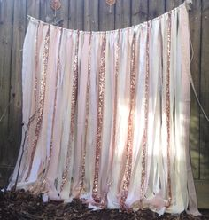Rose Gold Wedding Backdrop, Sparkly Sequins mixed with White, Ivory and Blush Pink fabrics, vintage and new. Custom Rose Quartz Sequin garland to match Pantones Wedding color for 2016. This would be the absolute perfect photo backdrop for your event, a wedding, shower, birthday, anniversary, baby photos, cakesmash, dessert table, sweetheart table For the real Glamorous gal, looking for sparkle in the bedroom you can hang these for curtains.. Hand tied fabric strips attached to heavy cord…