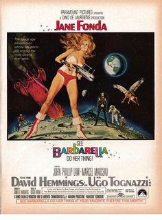 An original, linen-backed, one-sheet movie poster x from 1968 for Barbarella starring Jane Fonda. Art by Robert McGinnis. Robert Mcginnis, Barbarella Movie, Jane Fonda Barbarella, Tv Movie, Sci Fi Movies, Cult Movies, 1960s Movies, Iconic Movies, Vintage Films