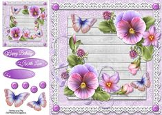 - Beautiful Lilac Pansys With Butterflies in gorgeous lilac and wooden effect frame, also has a gift tag with choice of ta. 3d Sheets, Quick Cards, Gift Tags, Lilac, Butterflies, Card Making, Frame, Floral, Gifts