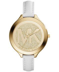 Michael Kors Women's Slim Runway White Saffiano Leather Strap Watch 42mm MK2389