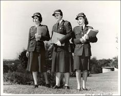 Three World War Two AWVS members in uniform.