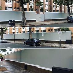 70 metre wooden hoarding designed installed and painted for Aspect Four Demolition opposite Lords Cricket Ground London. The supports are concrete blocks on wood posts. Hoarding Design, Wood Post, Concrete Blocks, Cricket, Creativity, Posts, London, Mansions, House Styles
