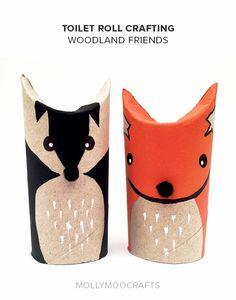 toilet-roll-fox-badger mollymoocrafts.com http://mollymoocrafts.com/toilet-roll-crafts-fox-badger/ http://www.educacioilestic.com/20-manualitats-per-fer-amb-rotllos-de-paper/