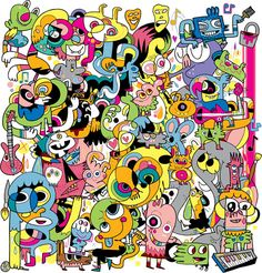 This is another of Jon Burgerman's work/wallpaper. The way he tightly packs the little characters is kind of how we will be doodling our busy streets. Graffiti Art, Graffiti Doodles, Art Pop, Create An Animal, Kawaii Illustration, Doodle Designs, Illustrations, Urban Art, Artist At Work