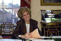 The Princess of Wales Works at Her Dining Room Table