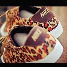 Shoes: nike leopard print