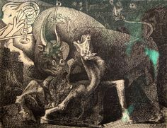 Pablo Picasso - Woman with candle fight between the bull and the horse, 1934 Picasso Guernica, Pablo Picasso Drawings, Picasso Sketches, Kunst Picasso, Art Picasso, Picasso Paintings, Pablo Picasso Zeichnungen, Picasso Prints, Picasso And Braque