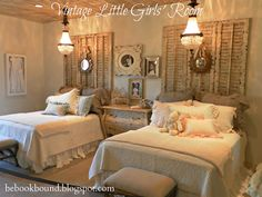 """Be Book Bound: Little House on the Prairie: A Vintage Bedroom for Little Girls this is one of my favorite """"shared spaces"""" of course very girly and vintage!"""