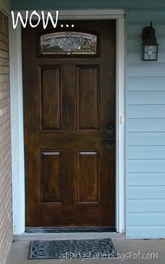 How to paint a fiberglass front door to look like faux wood Home Upgrades, Steel Doors, Wood Doors, Paint Steel Door, Faux Wood Garage Door, Garage Door Paint, Wood Exterior Door, Home Renovation, Home Remodeling