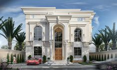 Classic villa with white stone - UAE Two Story House Design, Classic House Design, Village House Design, Modern Villa Design, House Front Design, Bungalow House Design, Facade Design, Exterior Design, Stone House Plans