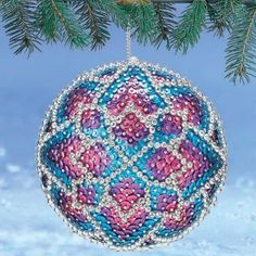 Kit-makes-2-Candied-Jewels-Christmas-Ornaments-styrofoam-Sequins-beads