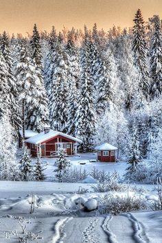 Cabin in snow, Finland
