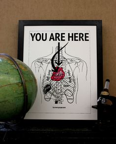 You Are Here - love quote - old anatomy chart of the heart - 22x28 inch print