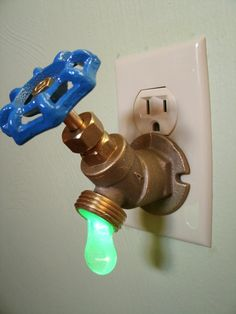 Drippy Faucet Nightlight - Add some artistic and unusual lighting to your home with these drippy faucet night lights. Created using real plumbing supplies, turning the valve acts as a light switch for the night light – lefty loosey to turn it on, right tighty to turn it off.