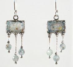 """""""Roman glass jewelry"""" dangling earrings Israeli #""""roman glass"""" #jewelry #bluenoemi 89 USD http://www.bluenoemi-jewelry.com/roman-glass-earrings.html"""