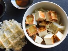Tofu and rice in a waffle iron (!) via @seriouseats