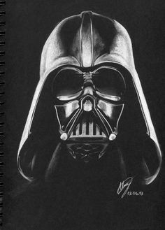 """Give yourself to the Dark Side"" (Chalk on black paper) Darth Vader (drawing) Black And White Art Drawing, Black Paper Drawing, Black And White Pictures, Black Art, Darth Vader, White Charcoal, Charcoal Art, Dark Drawings, White Pencil"