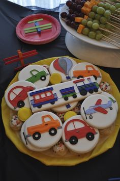 Decorated cookies at a Transportation Party #transportation #partycookies