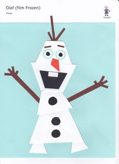 Olaf (Frozen) - vlieger www.vouwjuf.nl Winter Diy, Winter Love, Winter Activities For Kids, Winter Crafts For Kids, Winter Art Projects, Fun Projects, Draw A Snowman, Winter Thema, Simple Snowflake
