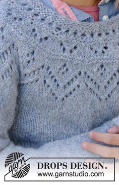Ravelry: Agnes Sweater pattern by DROPS design Baby Knitting Patterns, Baby Sweater Patterns, Lace Patterns, Knitting For Kids, Lace Knitting, Sewing Patterns, Drops Design, Magazine Drops, Garter Stitch