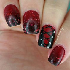 """♥ ♥ ♥ ♥ PRODUCTS USED: Red: """"Shall We Chalet"""" Essie Details: acrylic paint Toothpick Brush: from the Winstonia Store """"Glam. Red And Black Corset, Red Corset, Red Black, Black Onyx, Nail Art Pictures, Some Pictures, Love Nails, Pretty Nails, Painted Nail Art"""