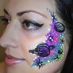 Neon rainbow Galaxy design by Glitter Goose. Face painting / face paint / face painter /face art / outer space / planets