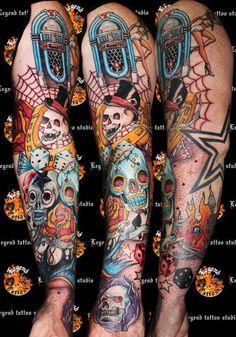 old school full sleeve tattoo