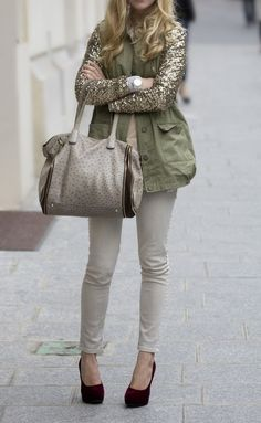 sneak peek fall style. Inspiration Look - LoLoBu. military jacket with gold sleeves... adorable.