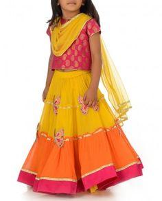 Little Almirah - Sunn Yellow & Flame Orange Lengha Set with Butterfly Motif