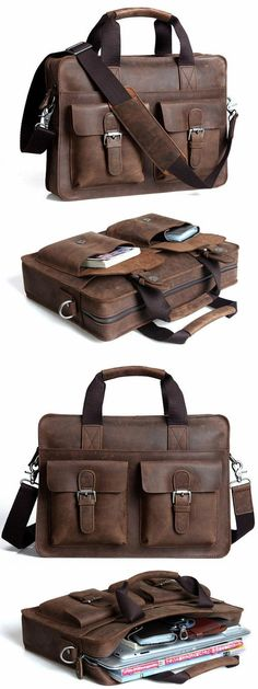 Handmade Crazy Horse Leather Briefcase Messenger Shoulder Bag Laptop Macbook iPad Bag - I like the outside pockets. Distressed Leather, Leather Men, Pink Leather, Macbook Bag, Sac Week End, Fashion Bags, Mens Fashion, Ipad Bag, Best Gifts For Him