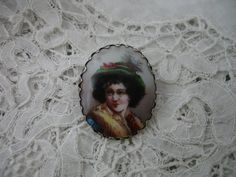 Antique porcelain brooch 1900 by Nkempantiques on Etsy