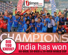 #DidYouKnow: #India is the only country to win 60-Over, 50-Over & 20-Over World Cups'. Yes, we're proud! Are you?