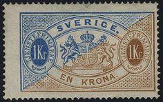 """Sweden Official stamps. Sweden, Official [Facit Tj10] *, 1874 1 Kr blue/brown, perf 14, obetydl ½ mm riss. Intyg HOW 2,3,3, """"Ett mycket vackert och fräscht exemplar""""."""