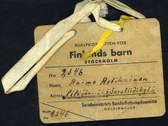 Name tag for #Finnish child being evacuated to #Sweden.  My mom was evacuated to Sweden during wartime.