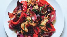 Grilled Bread Salad with Sweet Peppers and Onions Recipe | Bon Appetit