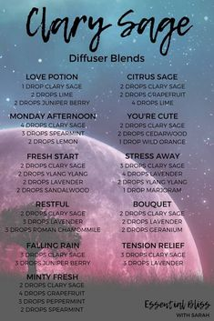 Clary Sage Diffuser Blends - Essential Bliss With Sarah #blends #bliss #Clary #Diffuser #Essential #Sage #sarah