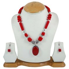 Red Coral Stone Beaded Necklace Set Silver Tone Brass Metal Fashion Jewellery #iba #NotSpecified
