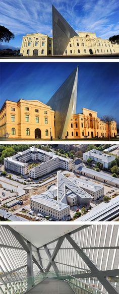 Museu da Guerra em Dresden, Alemanha. A reforma trouxe uma intervenção drástica na fachada clássica do prédio. O que acharam?